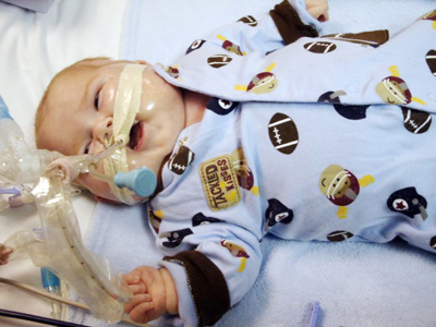 An infant in the NICU